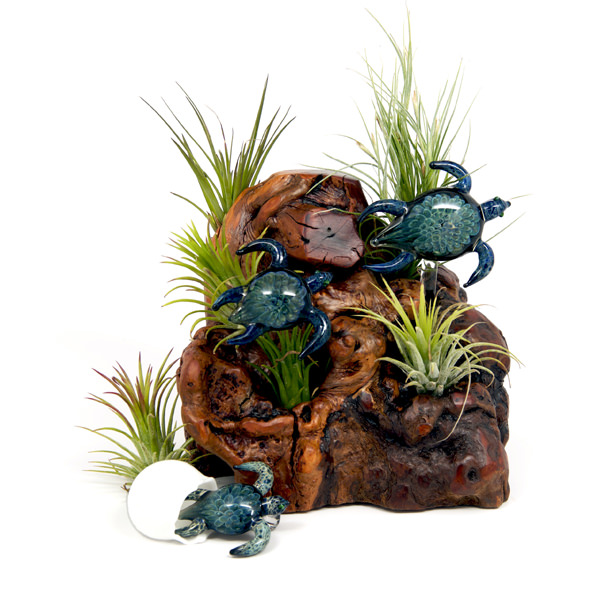 Sculptures - Life Cycle Turtles over Burl