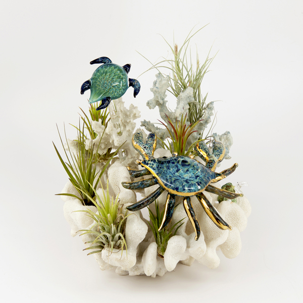 Sculptures - crab and turtle over coral